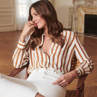2019 New Women Silk Striped Blouse Shirt