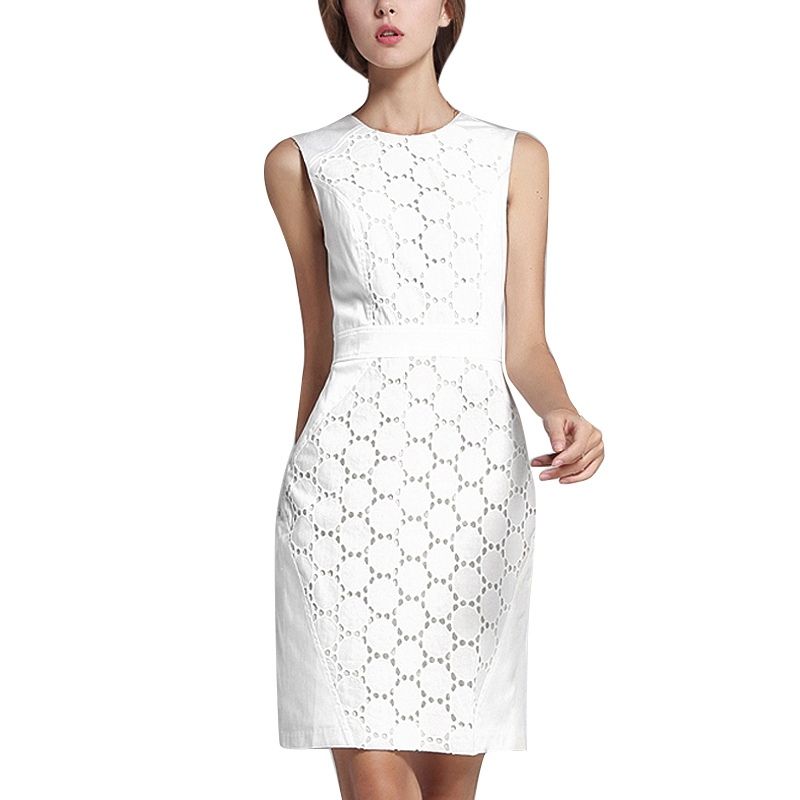 ROPALIA Summer Dress Women Sexy Sleeveless White Lace Mini Dress Solid Color Slim Large Size Dresses Fashion Casual Plus Size