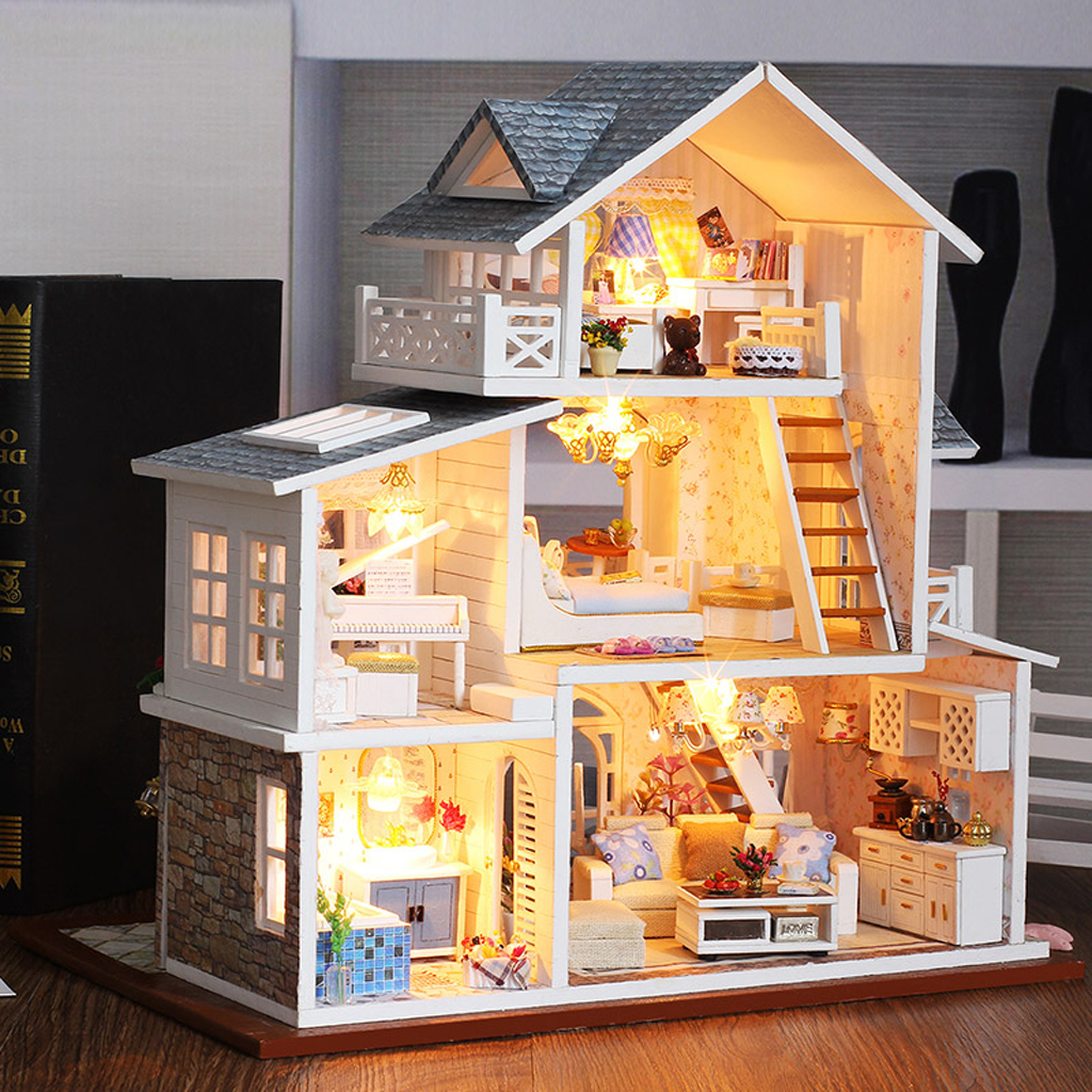 European Town DIY Wooden Dolls House Miniature Kit Furniture+LED+Music Box