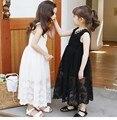 Adolescentes vestido de 2016 para a festa de casamento e vestido de verão sem mangas vestido de renda para crianças menina Maxi vestido longo princesa vestido