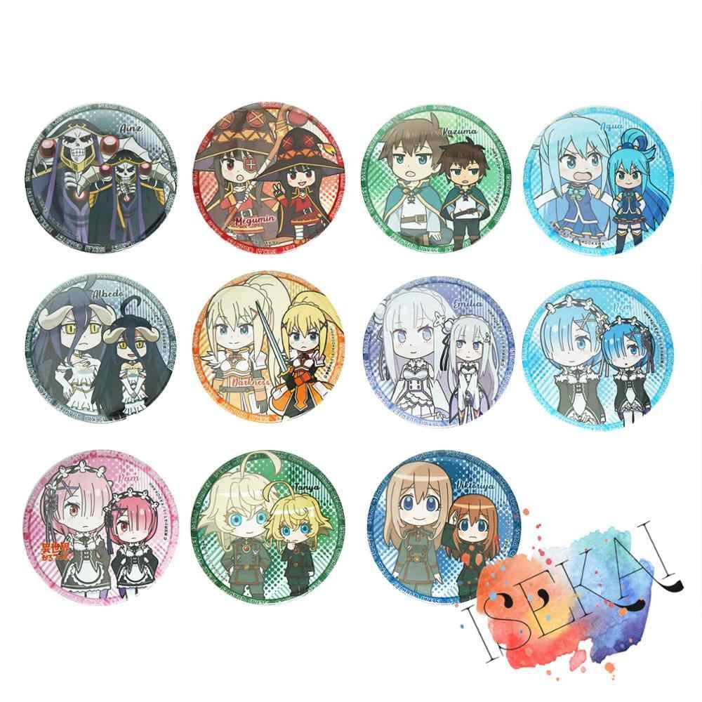 Isekai Quartet Anime Isekai Karutetto Konosube Rezero Tuan Megumin Tanya Aqua Rem Ram Emilia Albedo Lencana Bros Pin