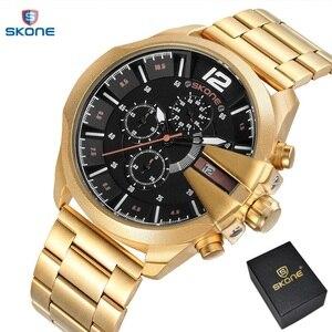 Men's Chronograph stopwatch Sport Quartz Watch Man Army Military Leather Wrist watches Relogio Masculino Men Watches 2017 SKONE(China)