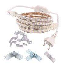 220 В 230 в 240 В Светодиодная лента светильник 3014 водонепроницаемый IP67 белый 6500 к теплый белый синий лента наружная веревка Разъем питания с регулируемой яркостью