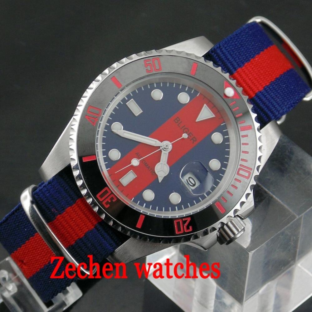 лучшая цена BLIGER 40mm Ceramic Bezel red blue dial Luminous hands Sapphire Automatic Nylon Bands Men Watch