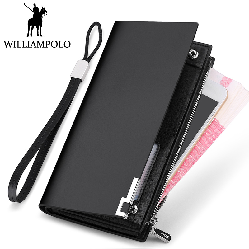 WILLIAMPOLO Genuine Leather Wallet Men Long Clutch Wallet Card Holder Cowhide Strap Purse For Male Zip Hasp Design Bifold Gift williampolo mens mini wallet black purse card holder genuine leather slim wallet men small purse short bifold cowhide 2 fold bag