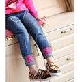 Ropa para niños 2017 de primavera y otoño pantalones vaqueros de las muchachas, Niños Letras pantalones pantalones flacos del bebé
