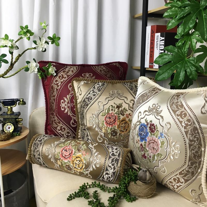 CURCYA Luxury Jacquard Flower Poszewka Retro Europejski Royal Aulic Elegant Room Dekoracyjna Sofa Pillow Cover Cases