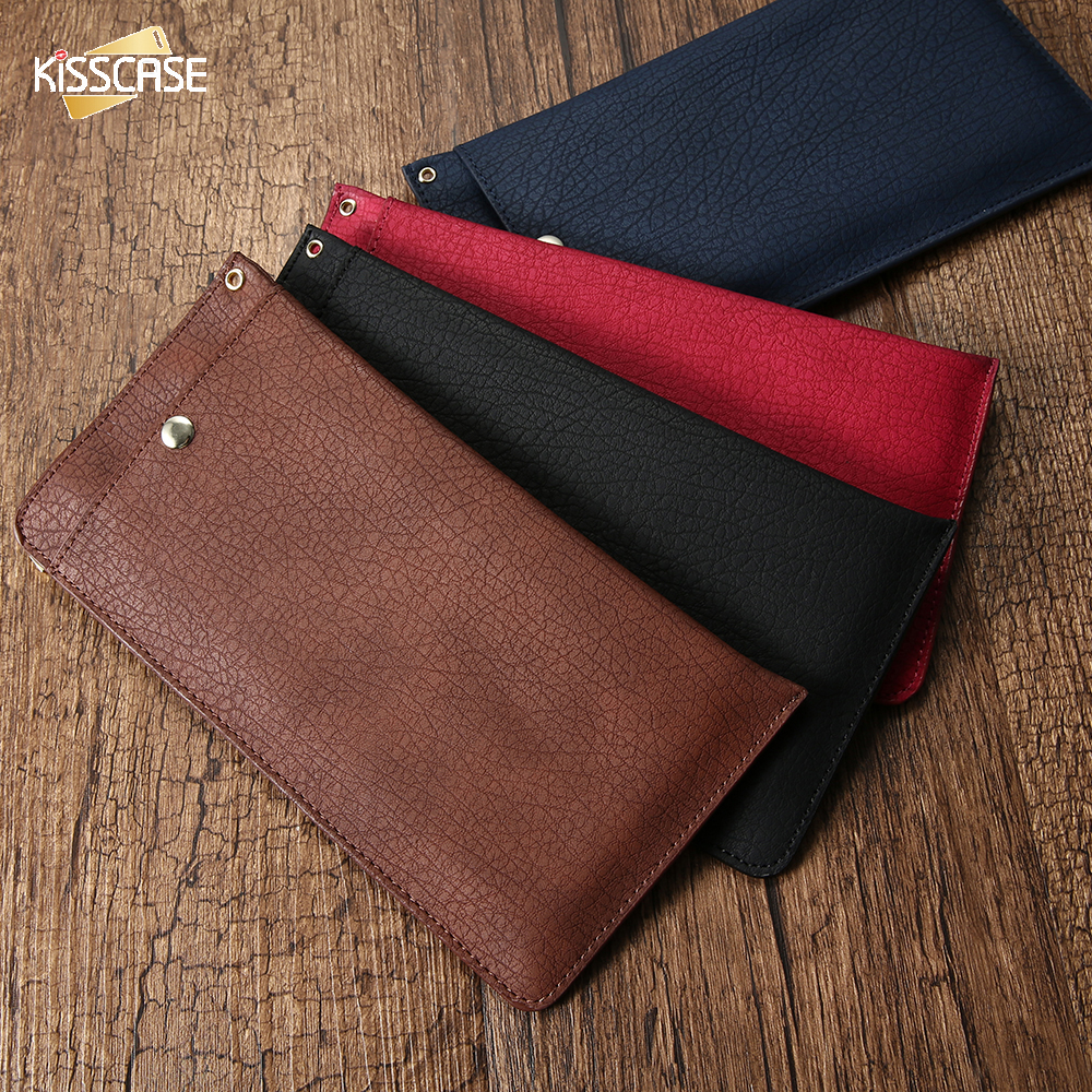 KISSCASE Universal Case For iPhone 6 6S 7 Plus 5S SE Leather Bark 6.3 Wallet Cases Fashion Mobile Phone Pouch Case For Apple