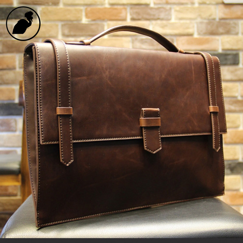 ETONWEAG Famous Brands Vintage Briefcase Brown Vintage Messenger Bag Men Leather Laptop Bag Business Lawyer Mens Office Bags цена и фото