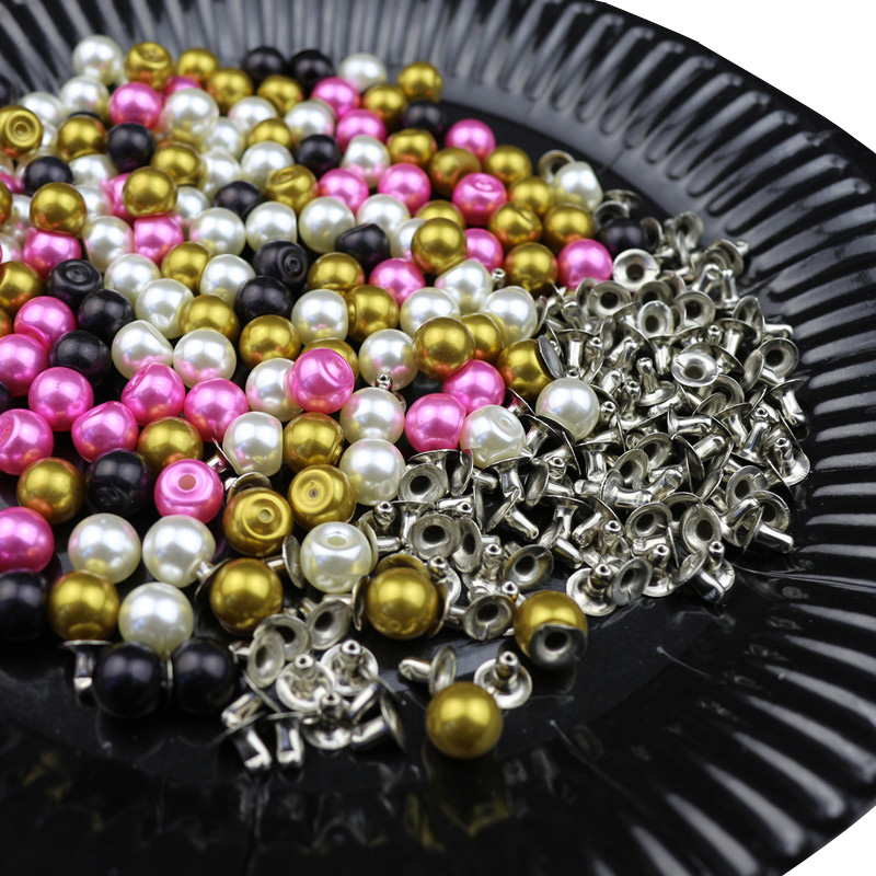 100PCS 8MM Color Imitation Pearl Rivets DIY Garment Accessories Beads Spikes For Cloths Hat Wedding Decor Rivets Pearls Set
