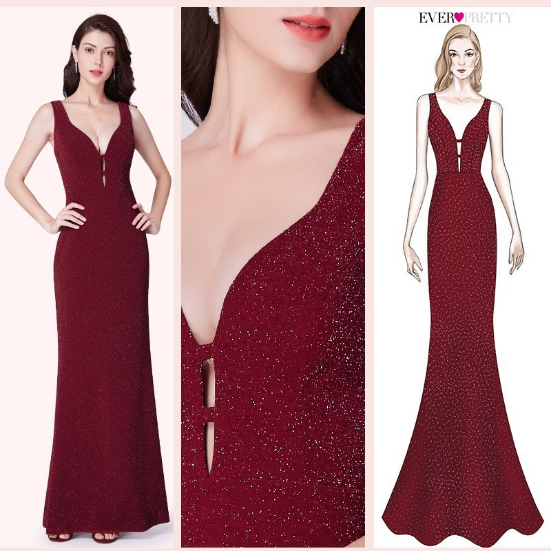 Burgundy Prom Dresses Long 2020 Ever Pretty V-neck Sparkle Sexy Mermaid Sleeveless Formal Dress Women Elegant Evening Party Gown