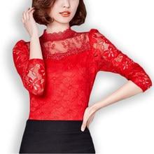 58bc0cafbd071 Foxmertor Women Blouses Shirt Tops 2018 Blusa Spring Summer fashion Women  Long Sleeve Lace Blouse Shirt