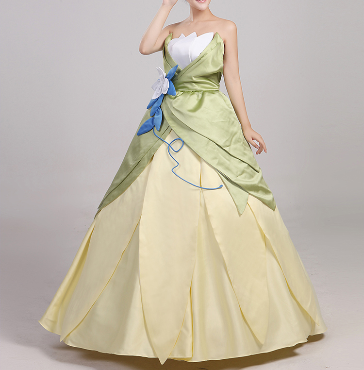 Wonder woman cosplay The Princess and the Frog costume adult princess tiana dress for Halloween costume long green Party dress (7)