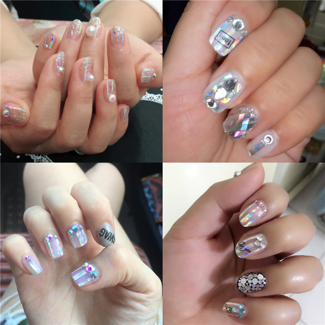 Online Shop 8 Sheets Holographic Strip Tape Nail Art Stickers Ultra