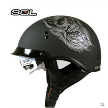 New  SOL half face motorcycle helmets motorbike Open Face Vintage Helmet double lens Casco capacete DOT aprroved men moto helmet