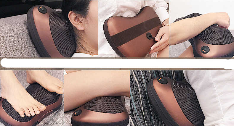 NEW Multifuction Relaxing massages Head Neck Massager pillow Infrared therapy Waist Body Electric Massage Pillow J19