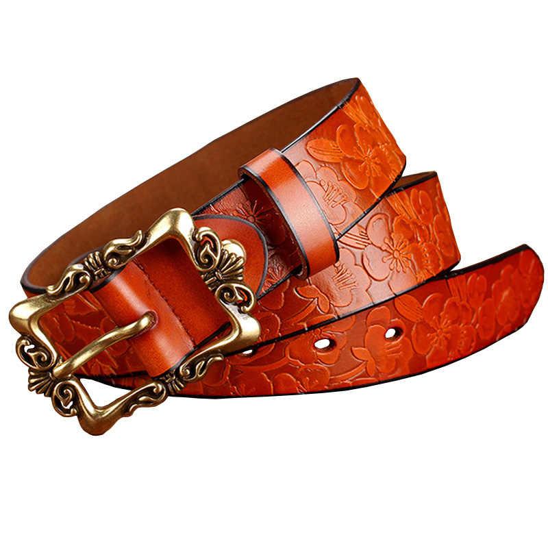Модные широкие пояса из натуральной кожи для женщин Винтажная Цветочная булавка пряжка женский ремень высокого качества второй слой коровья кожа джинсы ремень