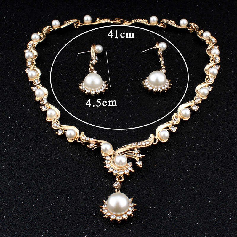jiayijiaduo New fashion African Women jewelry sets for women perle gold-color imitation Pearl necklace earrings  gift