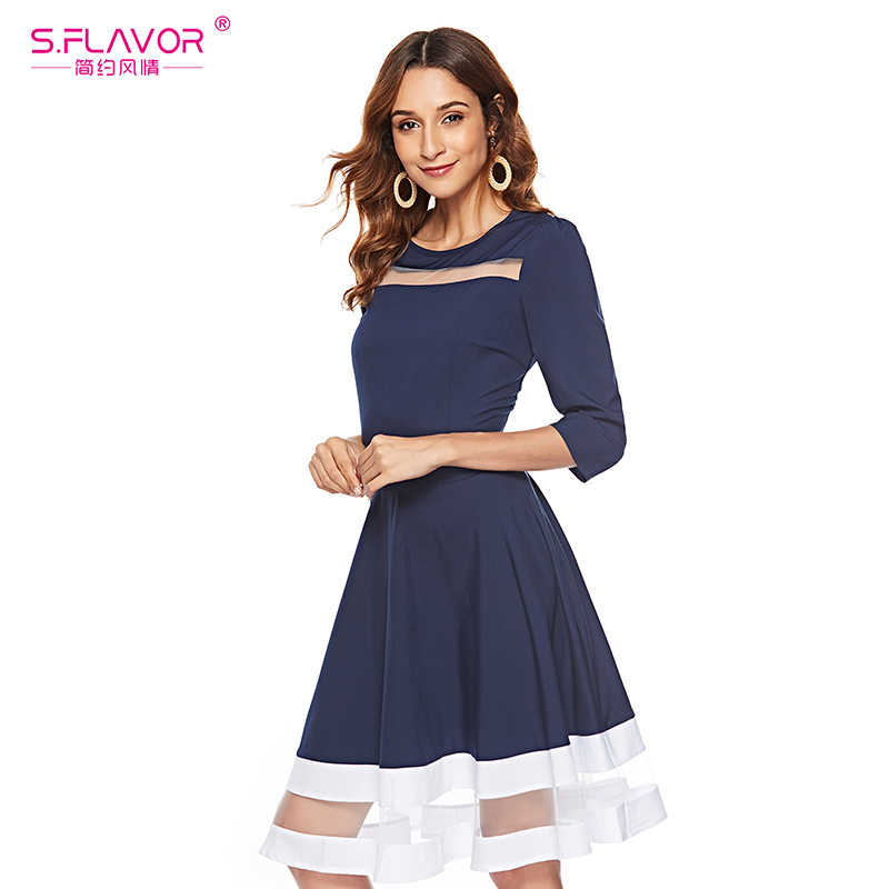 S. Saveur classique Patchwork robe a-ligne 2019 automne hiver mode o-cou 3/4 manches robe mince évider Sexy Vestidos De