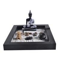Japanese Karesansui Mini Zen Table Garden with Rack Pebbles and Sand Home Office Decoration Black, 25cm*20cm*2cm