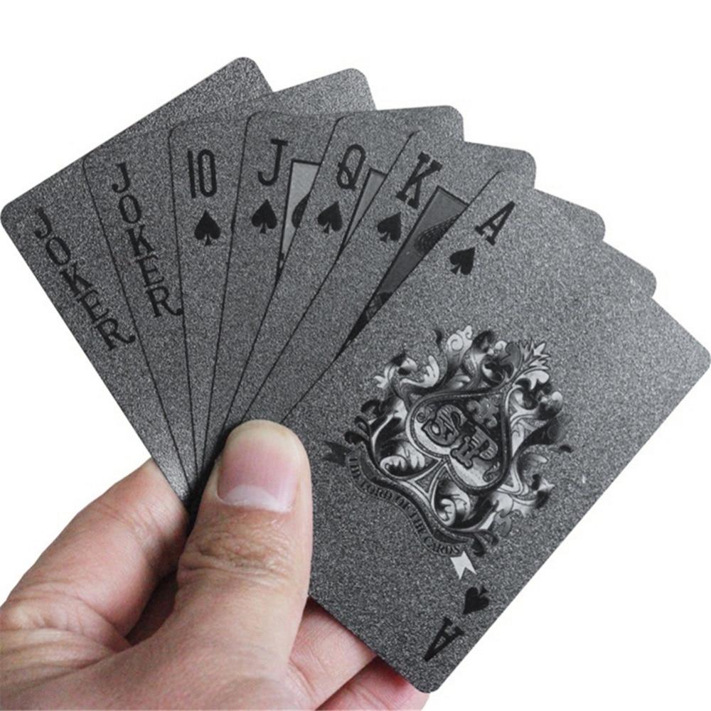 Black Poker Deck Plastic Playing Cards Board Games Speelkaarten Plastic Cards