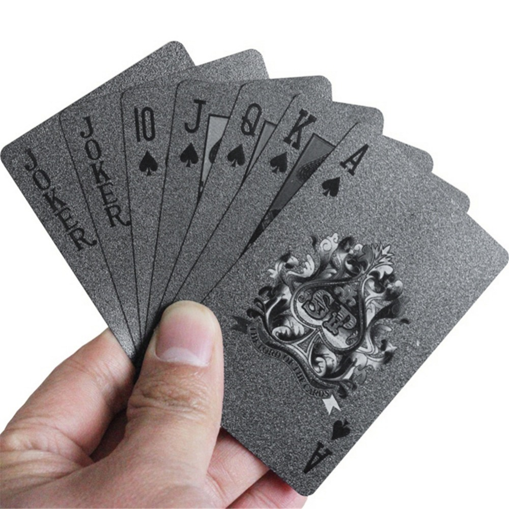 Black Poker Deck Plastic Playing Cards Board Games Speelkaarten Plastic Cards image