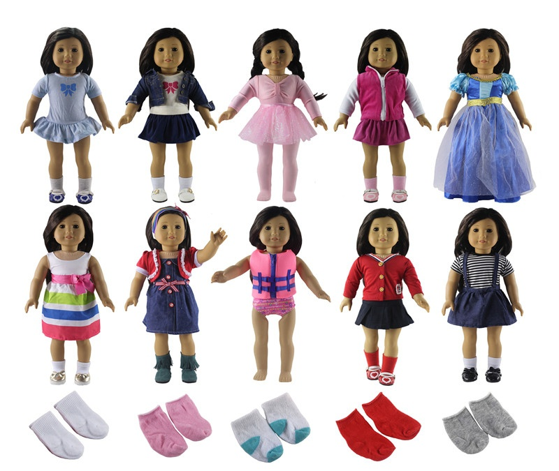 New 10 Set Doll Clothes 5 pairs of Socks for 18 American Doll S05