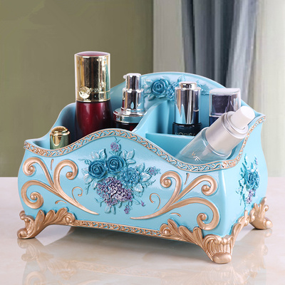 Luxury Blue Cosmetic Lipstick Holder Handicraft Carving And Painting Eco Resin Makeup Organizer Holder Makeup Tools StorageLuxury Blue Cosmetic Lipstick Holder Handicraft Carving And Painting Eco Resin Makeup Organizer Holder Makeup Tools Storage