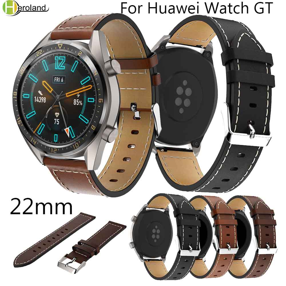 22mm Genuine Leather Watch Strap For Huawei Watch GT/Honor Magic Smart Watch Wristband For Gear S3 Hot Sale Wrist Bands