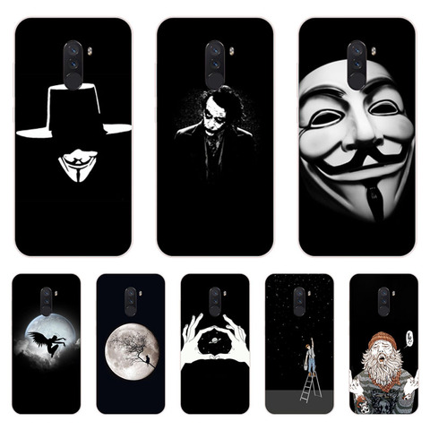 Xiaomi Pocophone F1 Case,Silicon Black graffiti Painting Soft TPU Back Cover for Xiaomi Pocophone F1 Protect Phone cases shell Pakistan