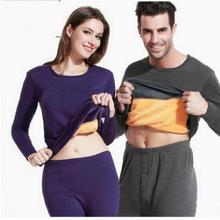 Long Johns Thermal Underwear Warm Plus Veket Set Women Men Sleepwear Suit Winter Pajamas Cotton Thickening Couples Shapewear