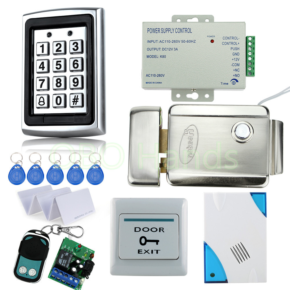 Free Shipping Full door Waterproof Access Control System Kit Set with metal Keypad+Electric Control Lock+Power+Remote+Door bell metal rfid em card reader ip68 waterproof metal standalone door lock access control system with keypad 2000 card users capacity