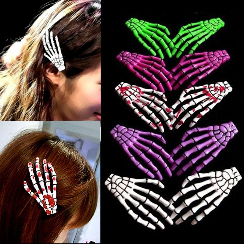 LNRRABC 1 Pc The bones of the hand Hairpin Human Skeleton Fluorescence Hairclip Harajuku Novelty Hair Accessories