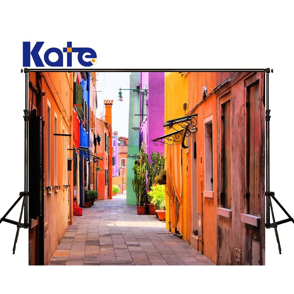 KATE Photo Background Colorful City Backdrops Italian Street Backdrop Romantic Wedding Backdrops Scenic Backdrops For Studio