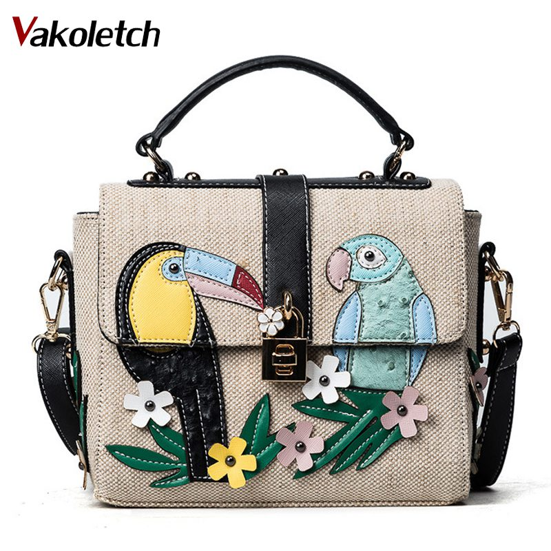 Famous Brands Designer Girls Linen Crossbody Floral Printing Women Bag Women's Weave Leather Shoulder Bags Female HandBags KL266