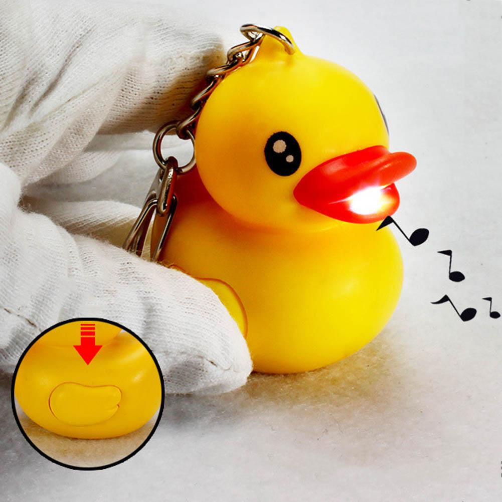 TRIXES Novelty Cute Yellow LED Quacking Light up Duck Keyring