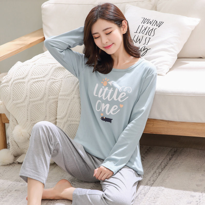 2019 Women Pajamas Sets Autumn Winter New Women Pyjamas Cotton Clothing Long Tops Set Female Pyjamas Sets NightSuit Mother Sleep 99
