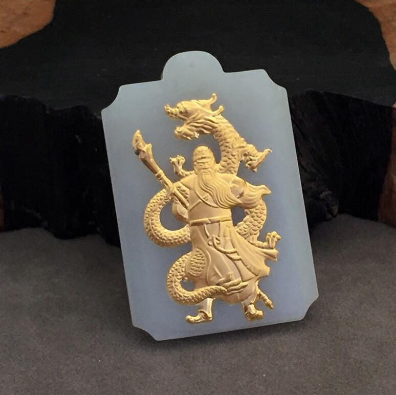 Natural 100% Pure Solid Full Gold Inlaid White HeTian Yu Carved GuanGong Lucky Pendant Necklace + Certificate Fashion Jewelry цена