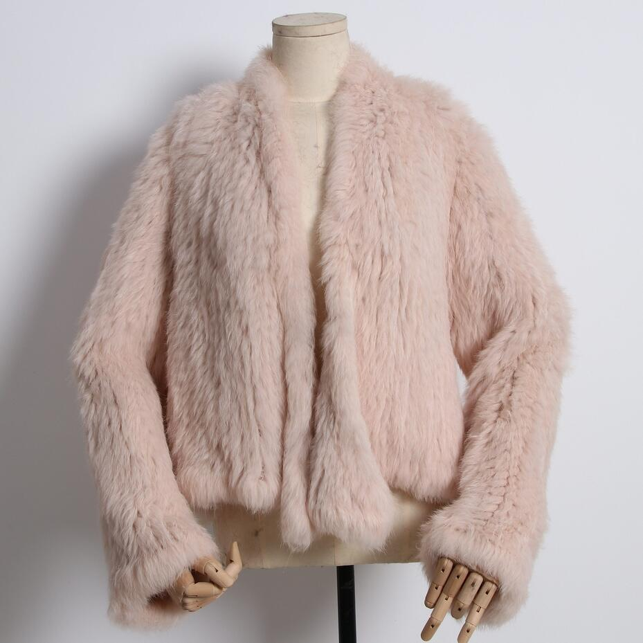 FXFURS 2019 New Style Knitted Rabbit Fur Jacket Fashion Fur Coats Women Winter Fur Overcoat Free