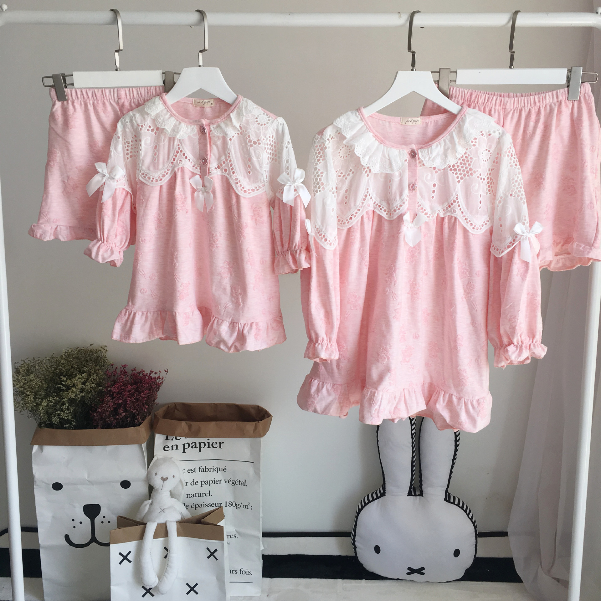 Family Matching Clothing Pajamas Sets Organic Cotton Mother and Daughter Homewears Princess Sleepwear Casual Clothes ...