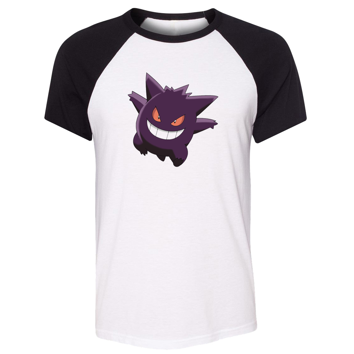 iDzn Unisex T-shirt Poison Ghost Type Pokemon National Pokedex 094 Gengar Pattern Raglan Short Sleeve Men T shirt print Tee Tops image