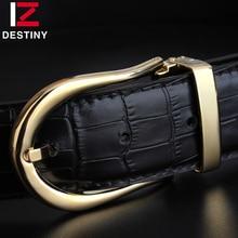Destin créateur de mode ceintures hommes de haute qualité en cuir véritable marque de luxe argent Ceinture or boucle fantaisie sangle mâle Ceinture