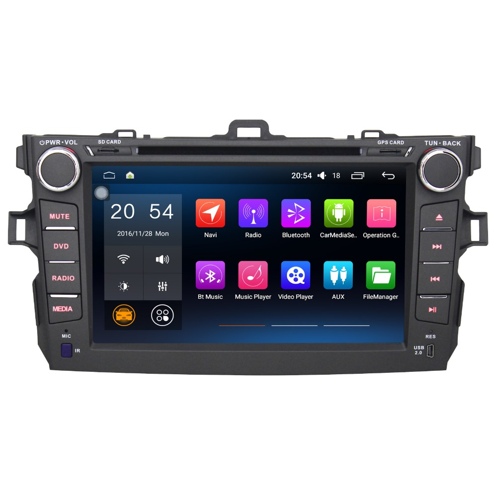 8 2 Din Android 6.0 Car Multimedia Player For Toyota Corolla 2007 2011 Without DVD Car Stereo Free Map Car Audio Radio Player