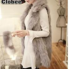 6XL, зимний женский жилет из искусственного лисьего меха с отворотом, верхняя одежда без рукавов, длинное пальто, Очаровательная Женская куртка, жилет YR195