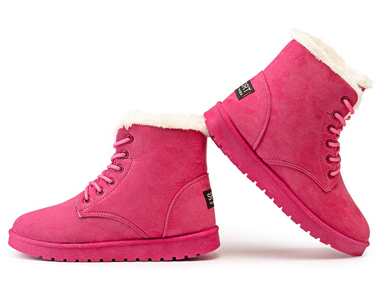 Winter Boots Suede Snow Boots Female Warm Fur