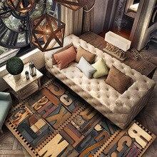 Vintage 3D solid wood letter rug Digital printing Crystal fleece Non-slip crawling mat Living room carpet bedroom floor