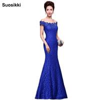 Suosikki Elegant Crystal Beaded Red Royal Blue Lace Mermaid Long Evening Dresses 2018 Prom Party Dress Robe De Soiree Longue