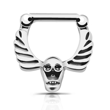 Septum clicker Nose Ring Hoop 1pc 316L Stainless Steel Septum Clicker Hinged Skull Wings Nose Ring Jewelry Gauges Nose Piercing