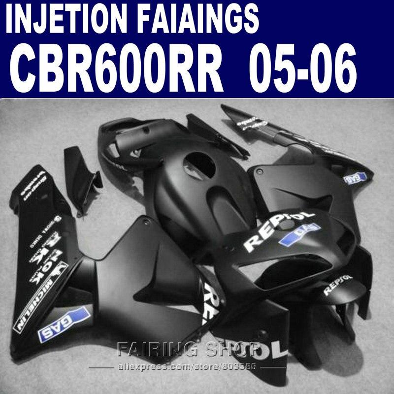 Per Honda kit CBR600 RR 2005 2006 (nero opaco) cbr 600rr 05/06 kit Carena * EMS consegna Carenature l54