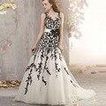Custom Made Estilo Real Do Vintage de Renda Preta Apliques Marfim Tulle Da Sereia Do Vestido de Casamento 2015 New Arrival Vestidos de Noiva